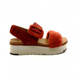 Sandales Compensées Fourrure Femme UGG Fluff Chella