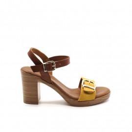 Sandales À Talon Coco Et Abricot V1524 Velours
